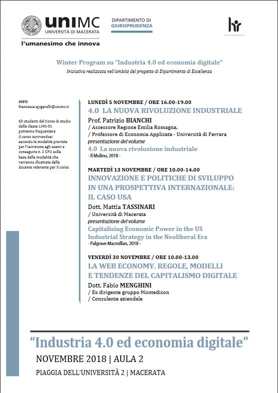 "Winter Program su ""Industria 4.0 ed economia digitale"""